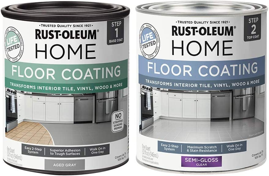 Rust-Oleum 367600 Home Interior Floor Coating Kit, Semi-Gloss Aged Gray