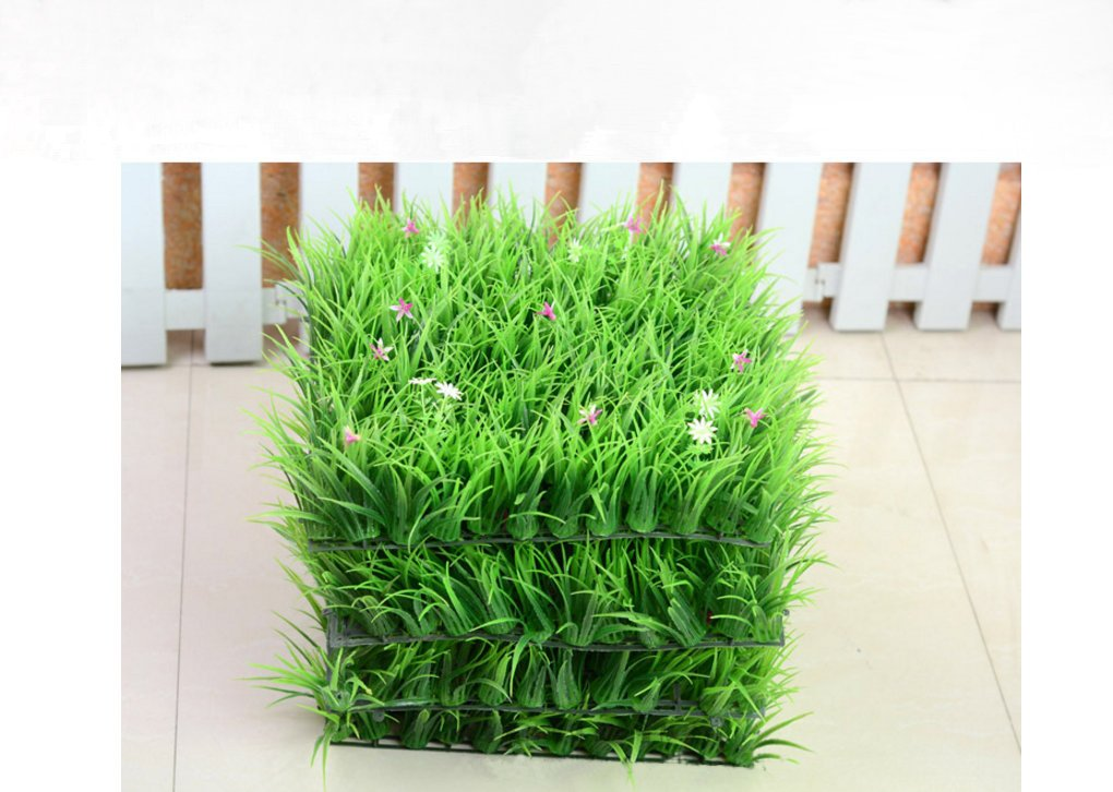 25 X 25CM Artificial Seeding Grass Topiary Hedge Plant Privacy Fence Screen Greenery Panels Suitable for Both Outdoor or Indoor, garden or backyard Wall and home decor