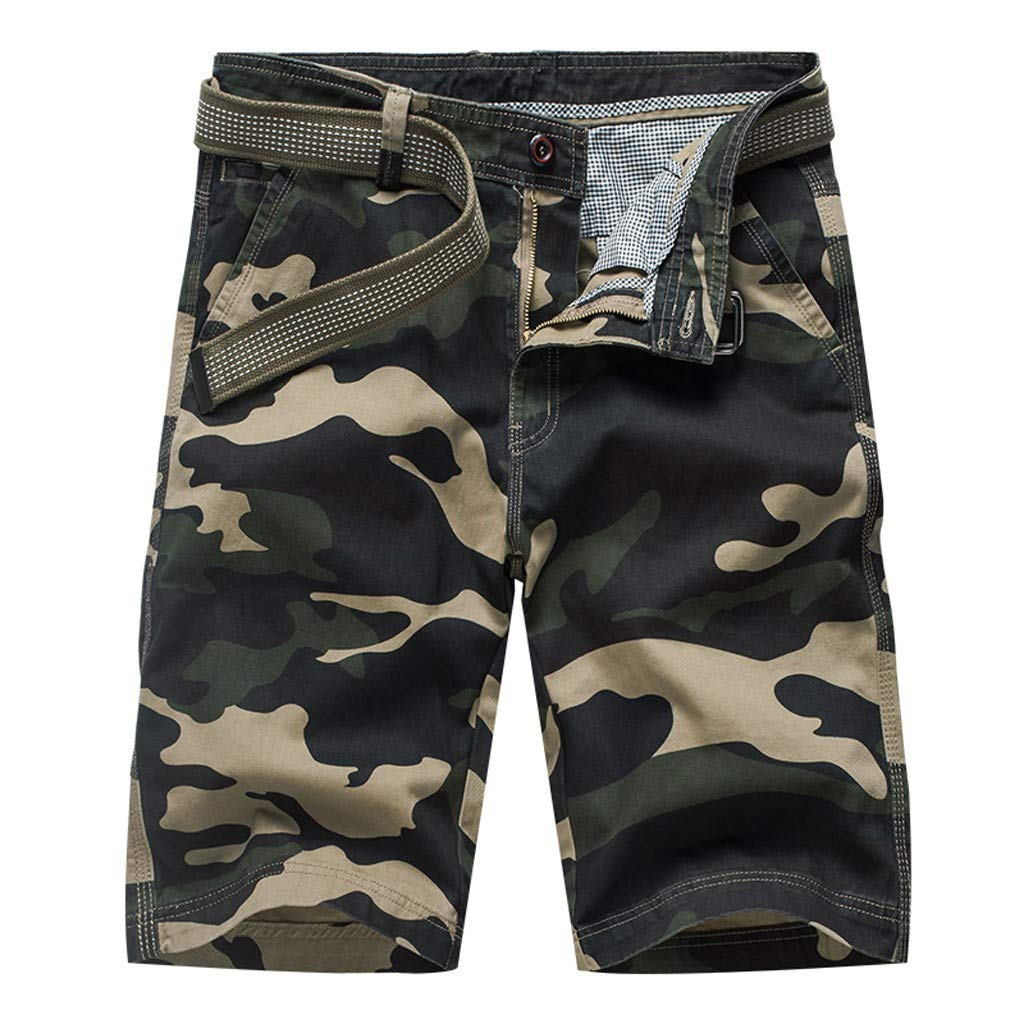 YKARITIANNA Men's Fashion Dungarees Casual Cotton Multi-Pocket Outdoors Work Trouser Cargo Short Pants Army Green
