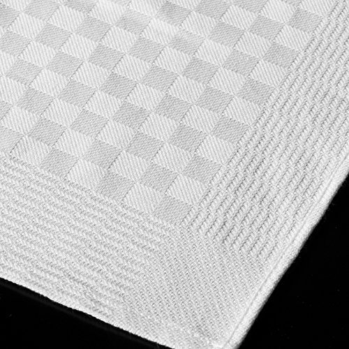 JB Prince White Check Side Towel 17.7 x 25.5 inches - 5 pack
