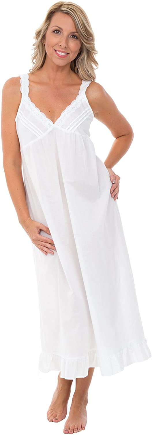 Vintage Inspired Slips Alexander Del Rossa Womens 100% Cotton Lawn Nightgown Sleeveless Deep V Gown $34.99 AT vintagedancer.com