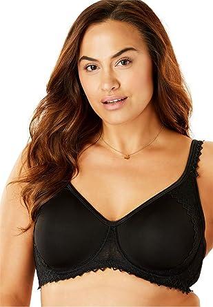 e8f61b68eb Comfort Choice Women s Plus Size Lace-Trim T-Shirt Bra at Amazon ...