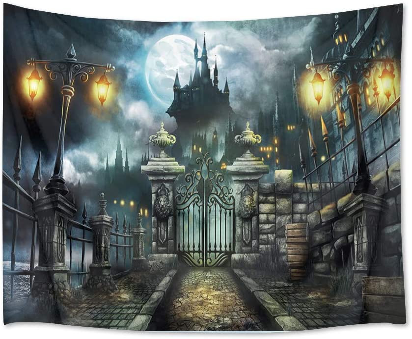 HVEST Castle Tapestry Haunted Building with Retro Gate Wall Hanging Full Moon in Night Tapestries for Bedroom Living Room Dorm Wall Decor,80Wx60H inches