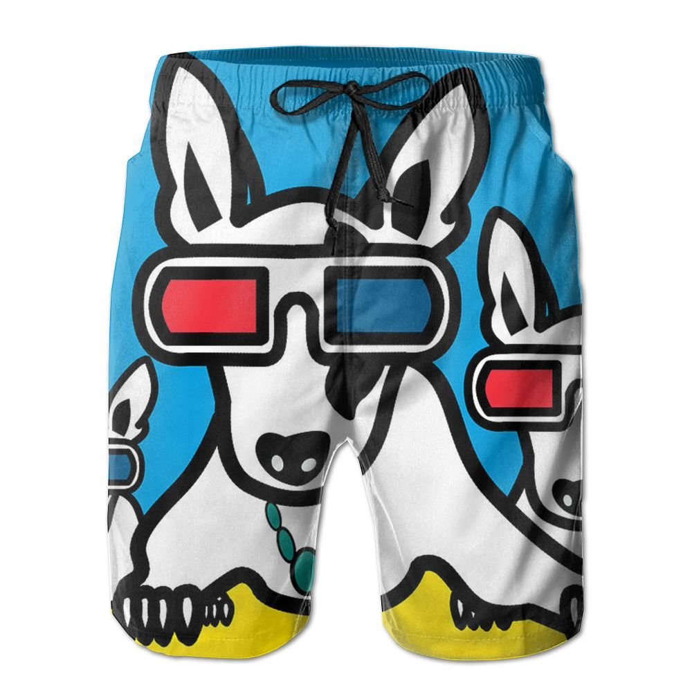 Kurabam Mens Beach Shorts, Boston Terrier with Glasses Beach Coverup Shorts for Men Boys, Outdoor Short Pants Beach Accessories