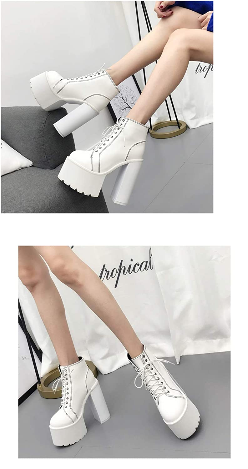 ACWTCHY Women Boots Platform Black High Heel Lace Up Ladies Casual Shoes Square Heel Ankle Boots white shoes