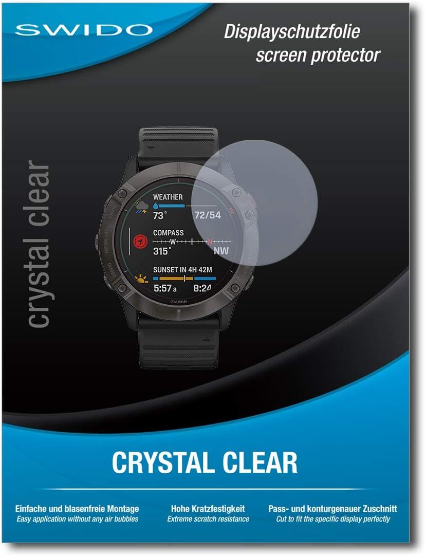 2 pezzi trasparente 51 mm Swido Pellicola protettiva in vetro temperato per Garmin Fenix 6X Pro