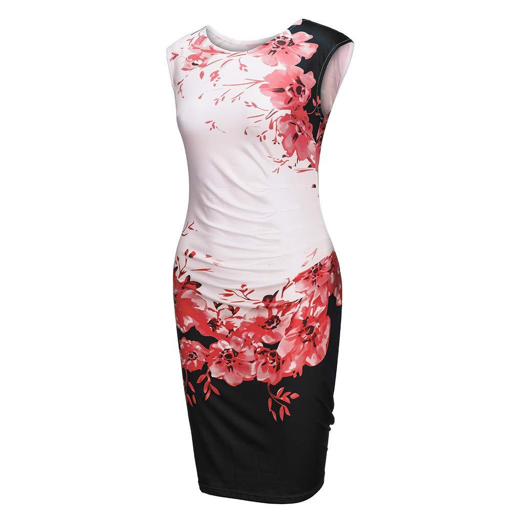 Toamen Party Evening Dress Sale Women Floral Print Sleeveless Cocktail Formal Skater Pencil Mini Bodycon Dress