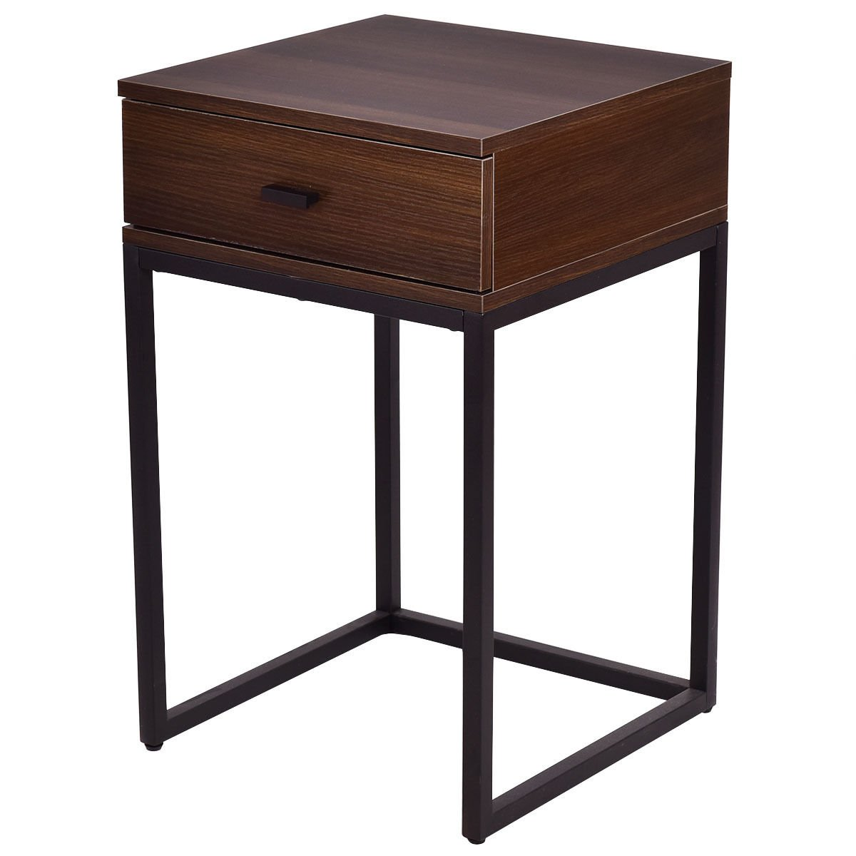 Nesting Table Coffee Table Side Table End Table Metal Frame Wood Glass Top 2PCS by White Bear & Brown Rabbit (Image #4)