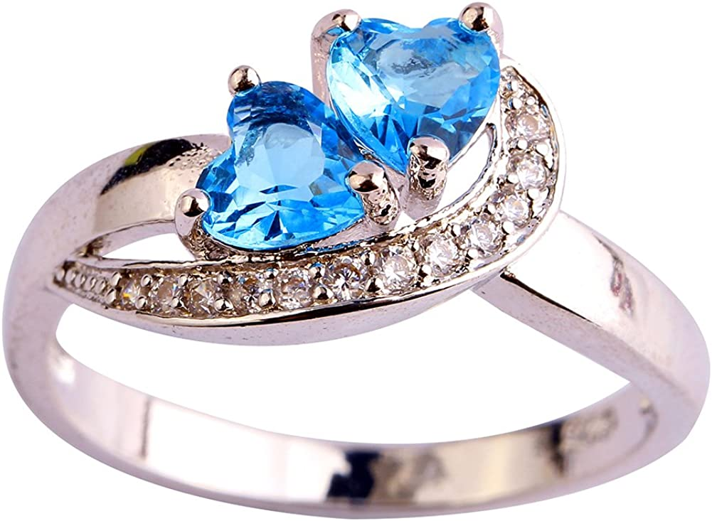 Psiroy Women's 925 Sterling Silver Created Blue Topaz Filled Heart Promise Ring