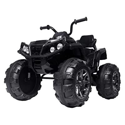 12V Kids Electric 4-Wheeler ATV Quad Ride On Car Toy with 3.7mph Max Speed, Treaded Tires, LED Headlights, AUX Jack, Radio: Toys & Games