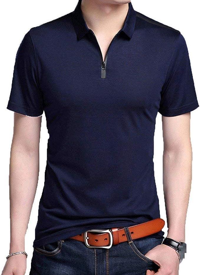 Camisa De Polo De Los Hombres con Cremallera Escote De Algodón ...