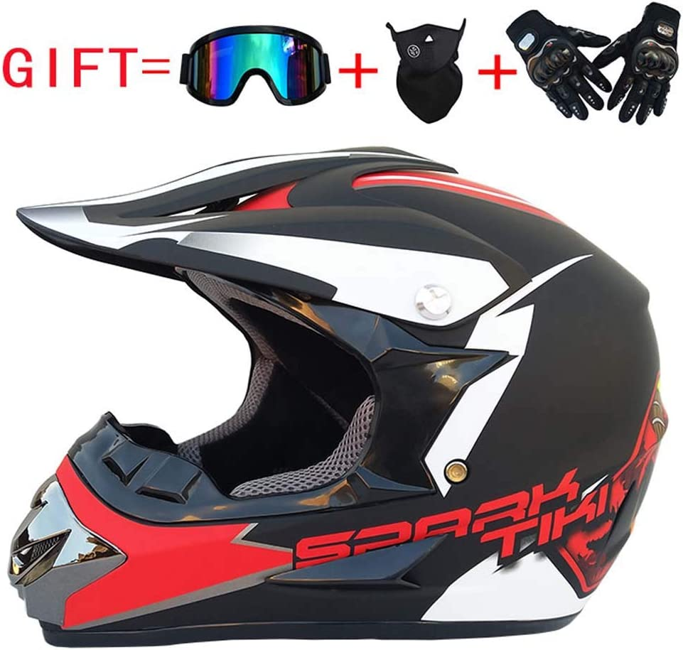 Full Face Helm Offroad Anti-Kollision Helm Kit Geben Goggles Und Fahrrad Handschuhe Staub Maske K Erwachsenen Motorrad Helm