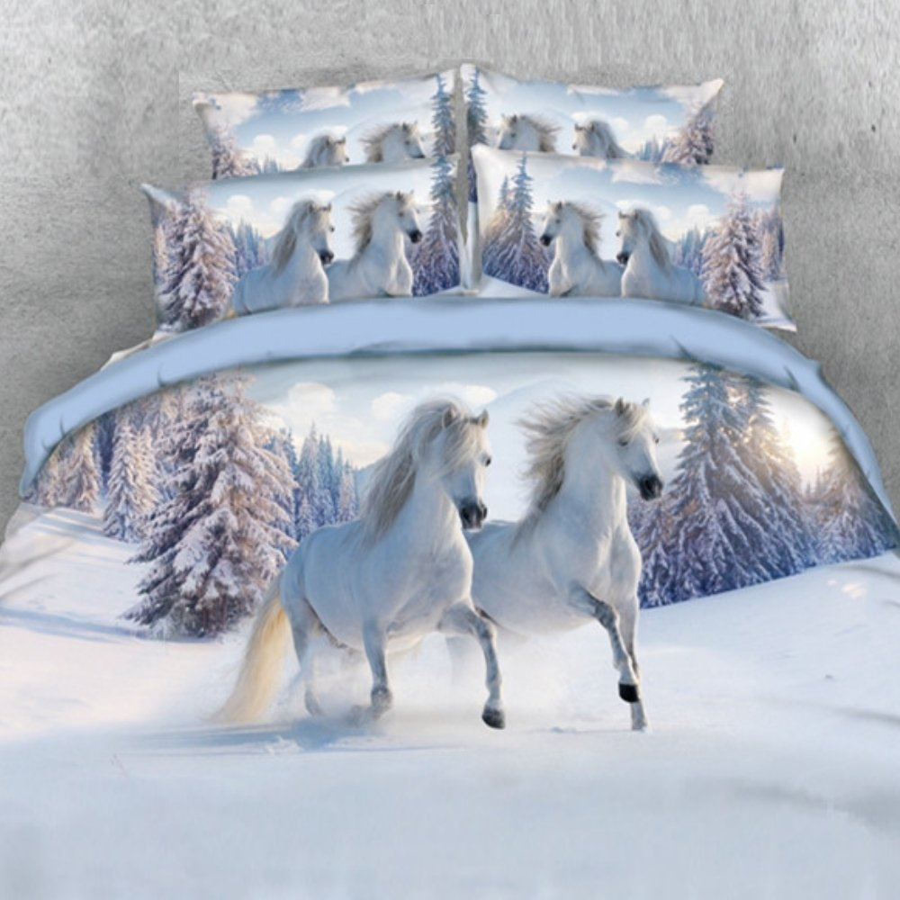 Alicemall 3D Horse Bedding Comforter Set White Snow Horse Digital Printing 5 Pieces Comforter Set Digital Bedding Set, Queen Size (2 Pillowcases, Flat Sheet, Comforter, Duvet Cover) (Queen, White)
