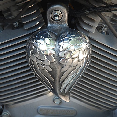 Harley Davidson Aged Aluminum Angel Wing Heart Horn Cover Chrome Dome