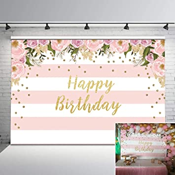 New Pink Floral Birthday Backdrop Watercolor Floral Glitter Dots Birthday Party Background Vinyl 7x5ft Pink and White Stripes Photo Backdrops Birthday Party Decorations