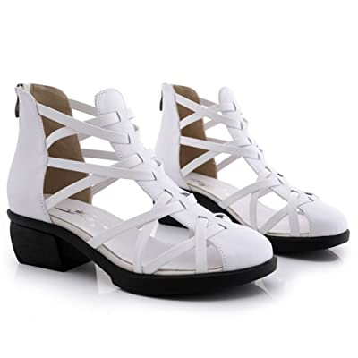QIANDA Sandales Femm Chaussures Été Conception Percée Talon Compensé Doux Et Confortable, Hauteur Du Talon 5cm, 2 Couleurs Optionnel (Couleur : Blanc, taille : 4UK/6US/36EU)