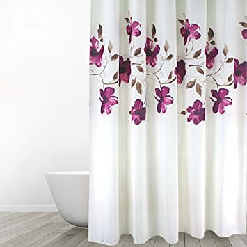 Amazon.com: Eforgift 72-inch By 78-inch Floral Shower Curtain Fabric ...