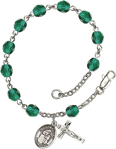 18-Inch Rhodium Plated Necklace with 6mm Crystal Birthstone Beads and Sterling Silver Saint Zoe of Rome Charm.