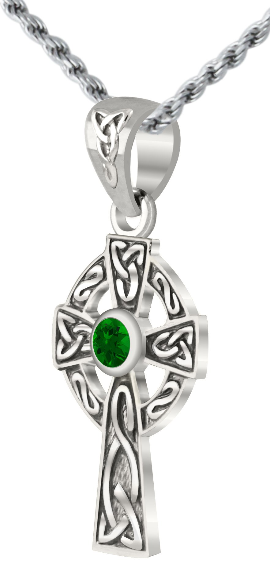 Small 0.925 Sterling Silver Simulated Emerald Irish Celtic Knot Cross Pendant 1.5mm Rope Necklace, 24''