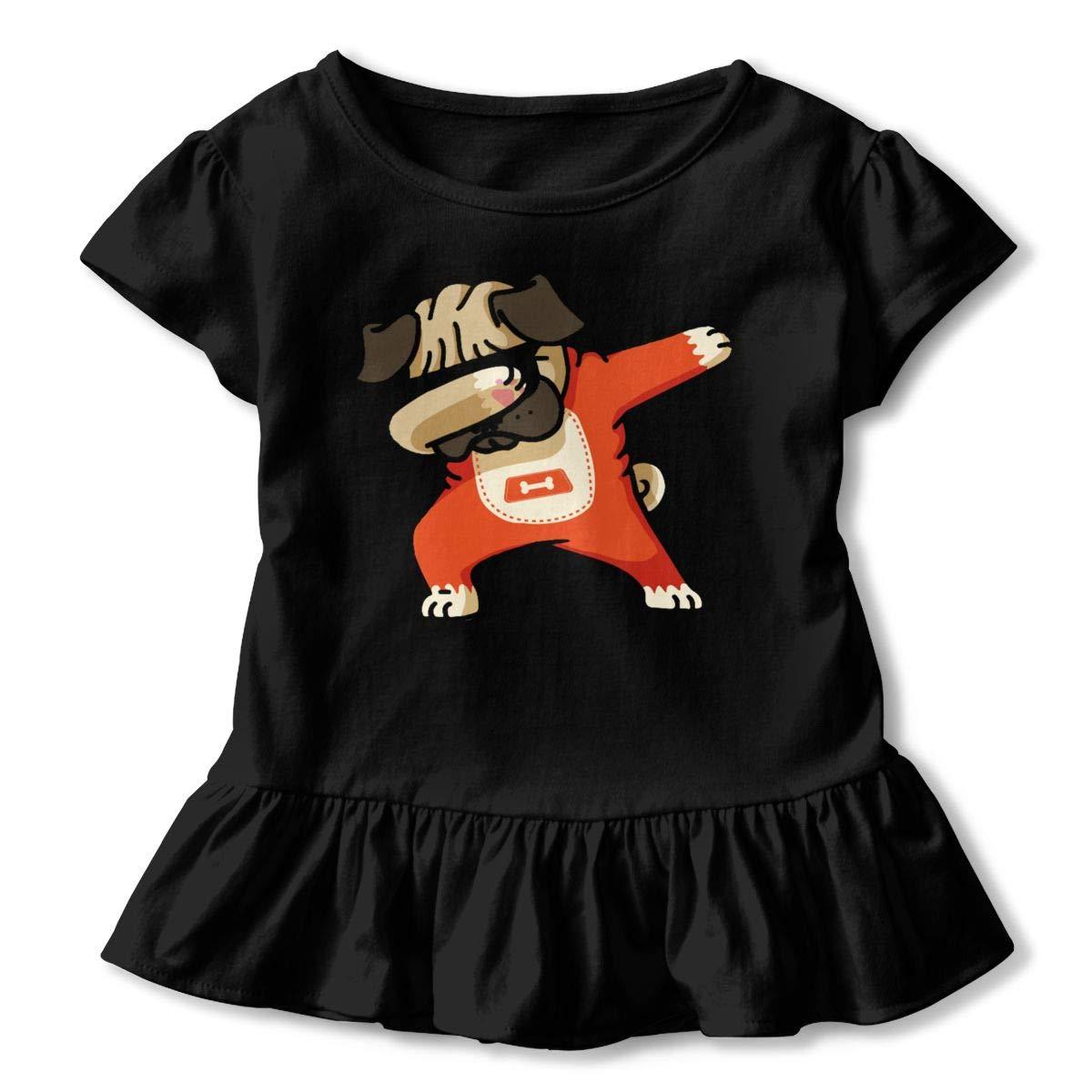 JVNSS Pug Dab Shirt Fashion Baby Girl Flounced T Shirts Graphic Tees for 2-6T Kids Girls