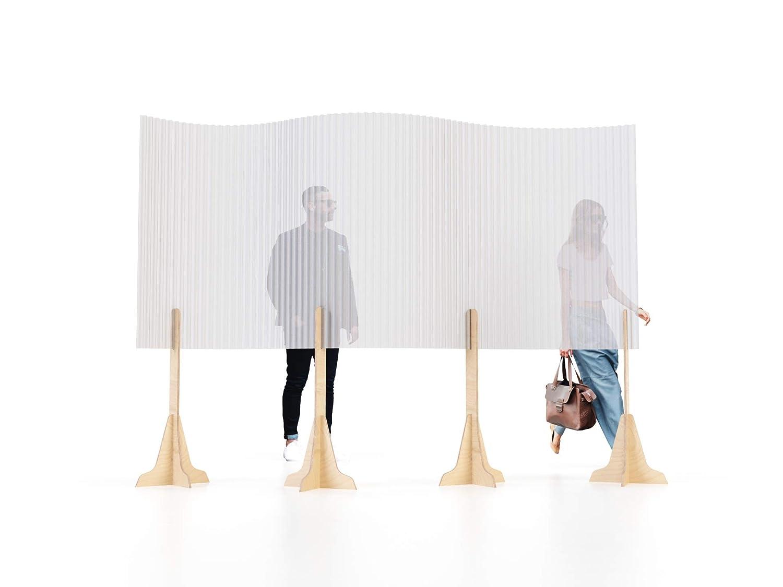 Parete divisoria in carta semi trasparente e legno di betulla SplitUp Ideale per creare corsie di ingresso e uscita e separare ambienti luoghi pubblici e nego Il divisorio protettivo ad altezza uomo /è ideale per uffici e ristoranti Riciclabile