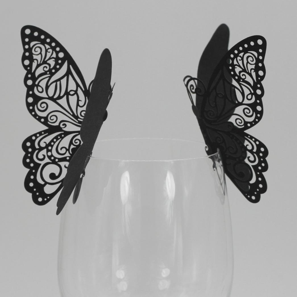 Exteren New 50 Pcs Butterfly Wine Glass Paper Card for Wedding Party White Water Cup Water Bottle Water Mug Flask (Black)