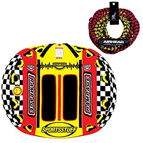 SPORTSSTUFF Half Pipe Rampage Inflatable 2-Rider Towable + Tow Rope | 53-2155 - Rampage Air