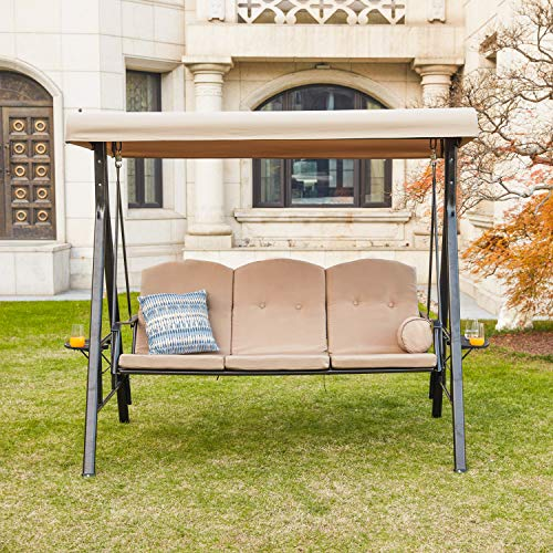 LOKATSE HOME 3 Person Patio Swing Outdoor Chair Set Porch Hammock Cushioned Bench Seats Furniture with Adjustable Canopy, Khaki