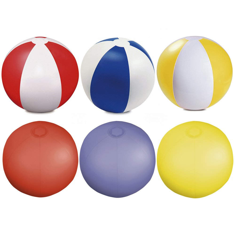 eBuyGB Pack of 6 Inflatable Colour Beach Ball Pool Game, Multicoloured, 22cm / 9' 22cm / 9 1315799
