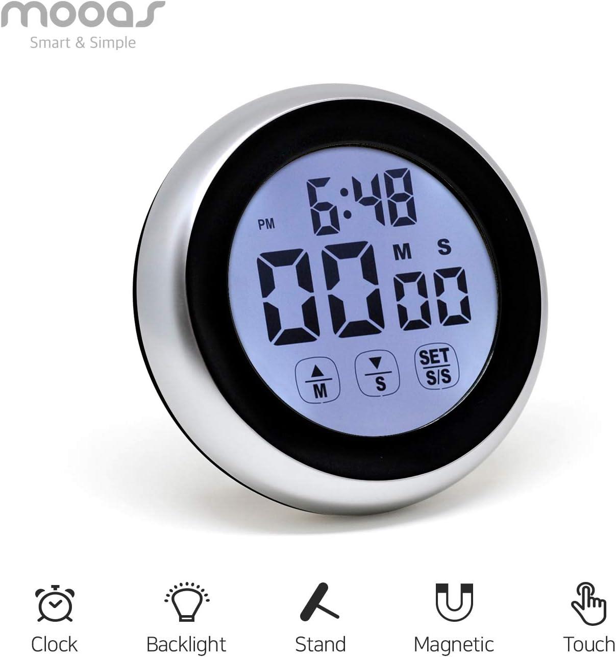 Mooas LED Digital Cooking Timer TC2, kitchen timer,stop watch, alarm clock, alarm cooking timer (Black)