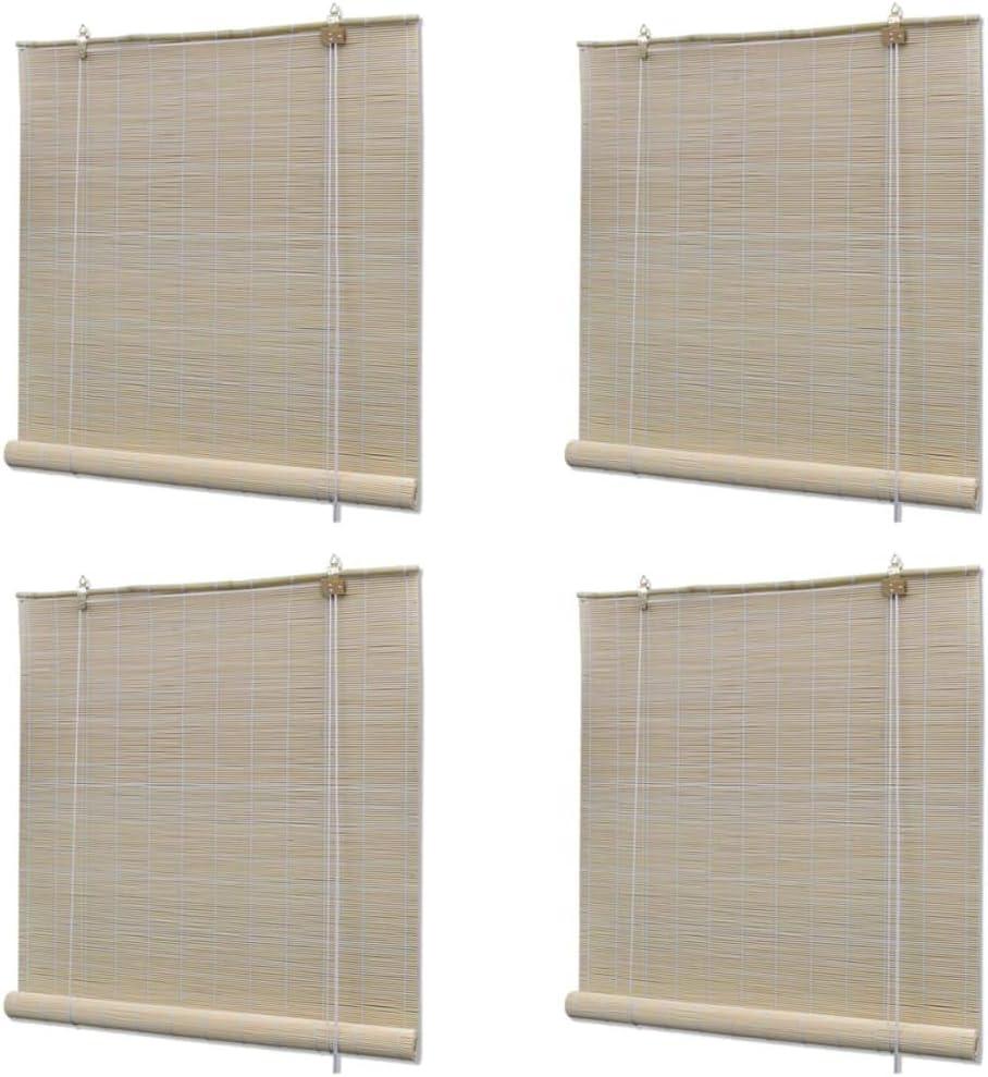 vidaXL 4X Estores Enrollables Bambú Natural Persianas Ventana Hogar Diseño Privacidad Control Cantidad Luz Entrante Fáciles Limpiar Colocar 120x160cm: Amazon.es: Hogar