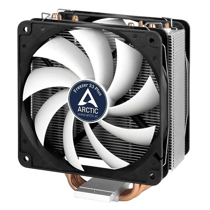 ARCTIC Freezer 33 Plus - CPU Cooler for Intel 115X / 2011-3 / AMD Ryzen,  CPU Cooling Fan System, Semi Passive Tower, Up to 160 Watt TDP - Grey