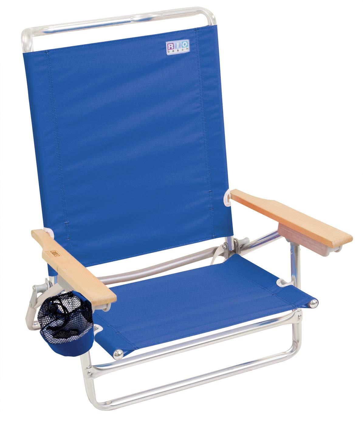 Rio Beach Classic 5 Position Lay Flat Folding Beach Chair - Pacific Blue by RIO Gear