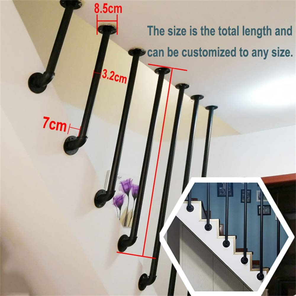 YIKE 6.56 ft Handrail Complete Kit.Iron Galvanized Pipe Industrial Wind L-Shaped Stair Railing Simple Modern Wrought Iron Fence Retro Villa Fence Attic Railing Bar