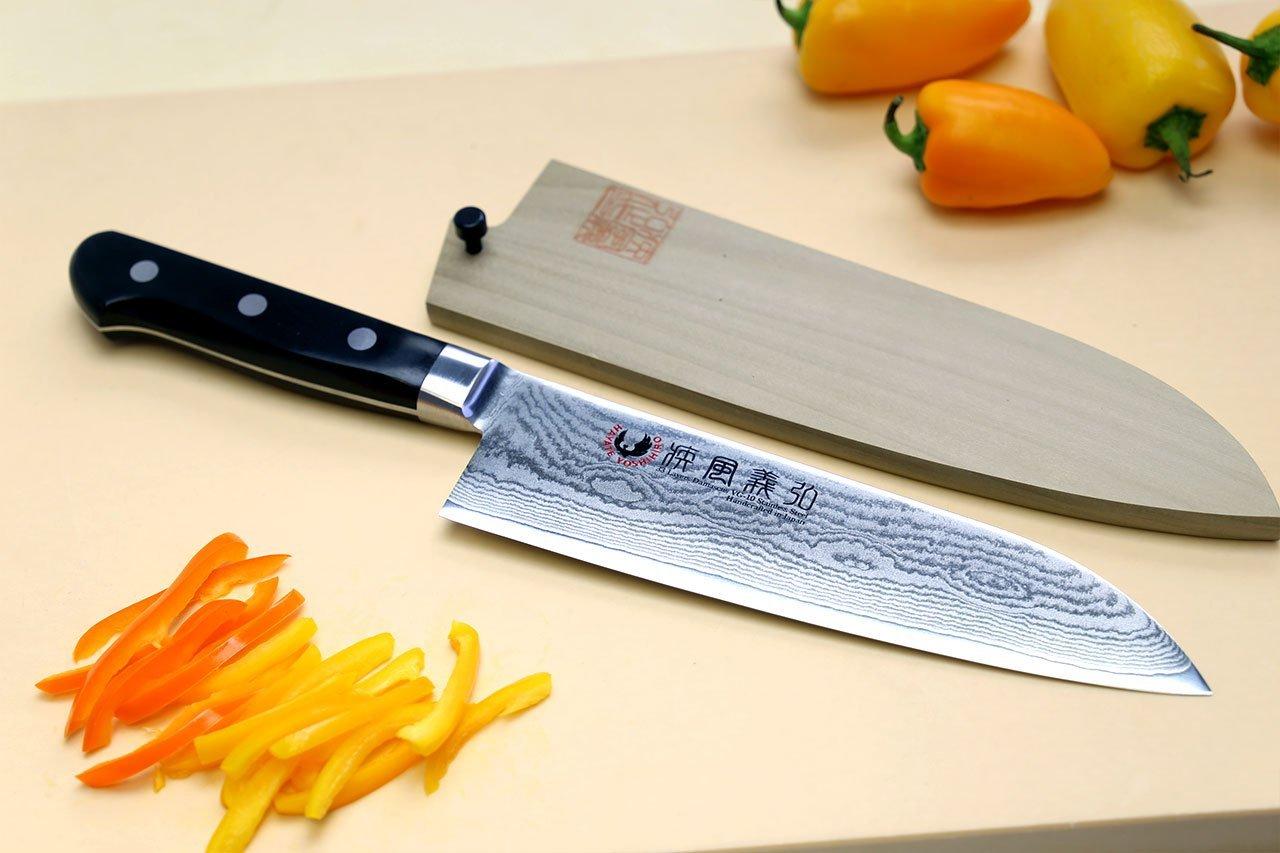 Yoshihiro VG10 Stainless Steel 33 Layers Damascus Santoku Multipurpose Japanese Chef Knife 7inch(180mm)