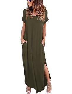 f730e0e931df ISASSY Damen Sommerkleid Kleider Maxikleid Lang Kleid Partykleid  Boho-Abendkleid M-XL