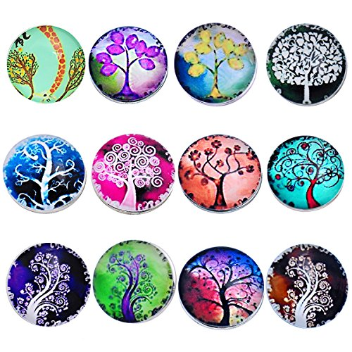 Souarts Pack of 12pcs Mixed Round Life Tree Snap Button Jewelry Charms