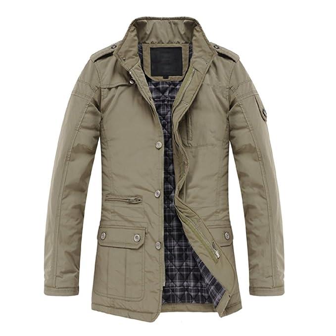 SODIAL(R) Neuer Mantel duenne Kleidung Winter warmer Mantel beilaeufige  Oberbekleidung Khaki-M: Amazon.de: Bekleidung