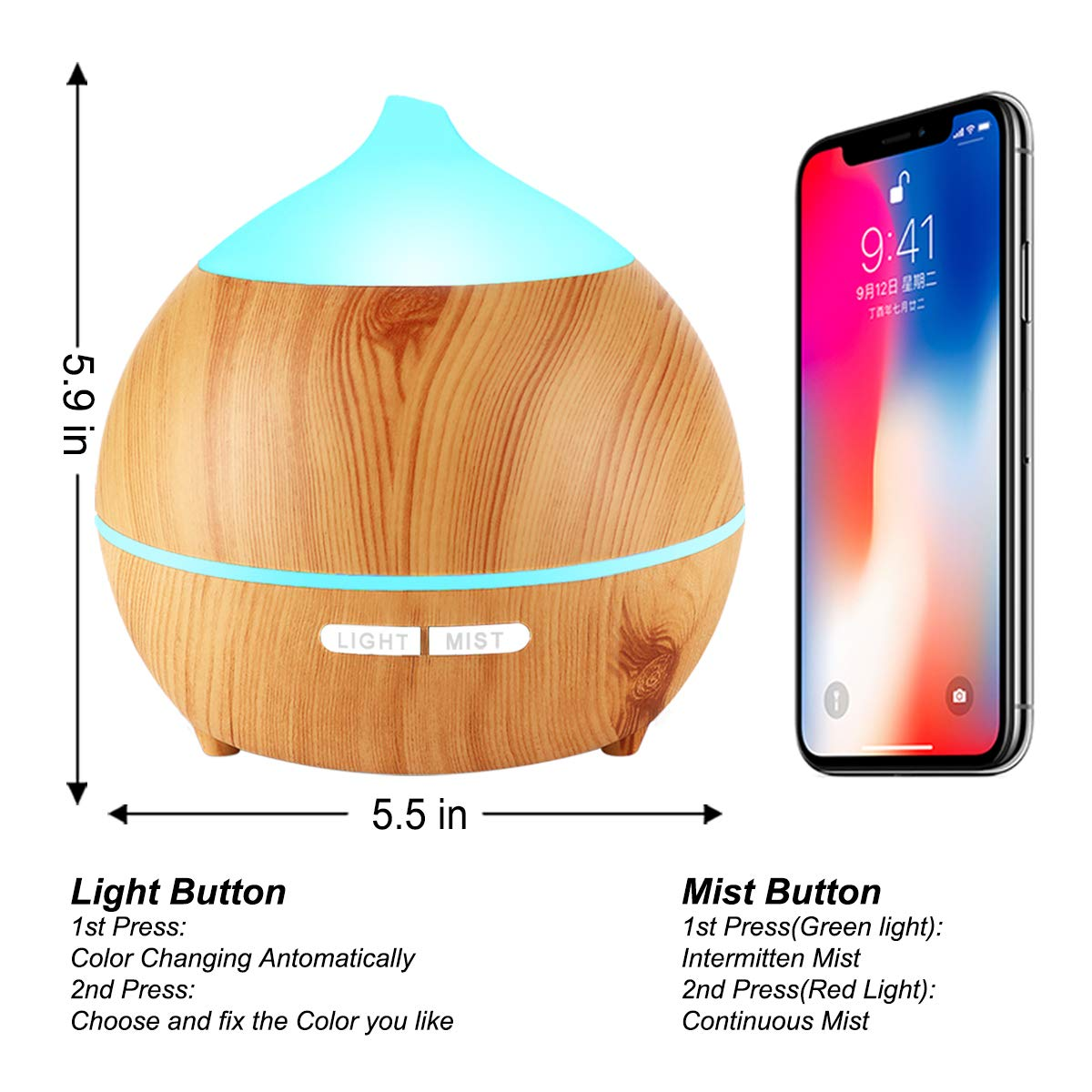 Essential Oil Diffuser XFelectronics 2 pack 250ml Diffusers for Essential Oils Wood Grain Aromatherapy Diffuser Ultrasonic Humidifier with Waterless Auto Shut off, 7 Colors Light for Home Office Baby by Xfelec (Image #3)