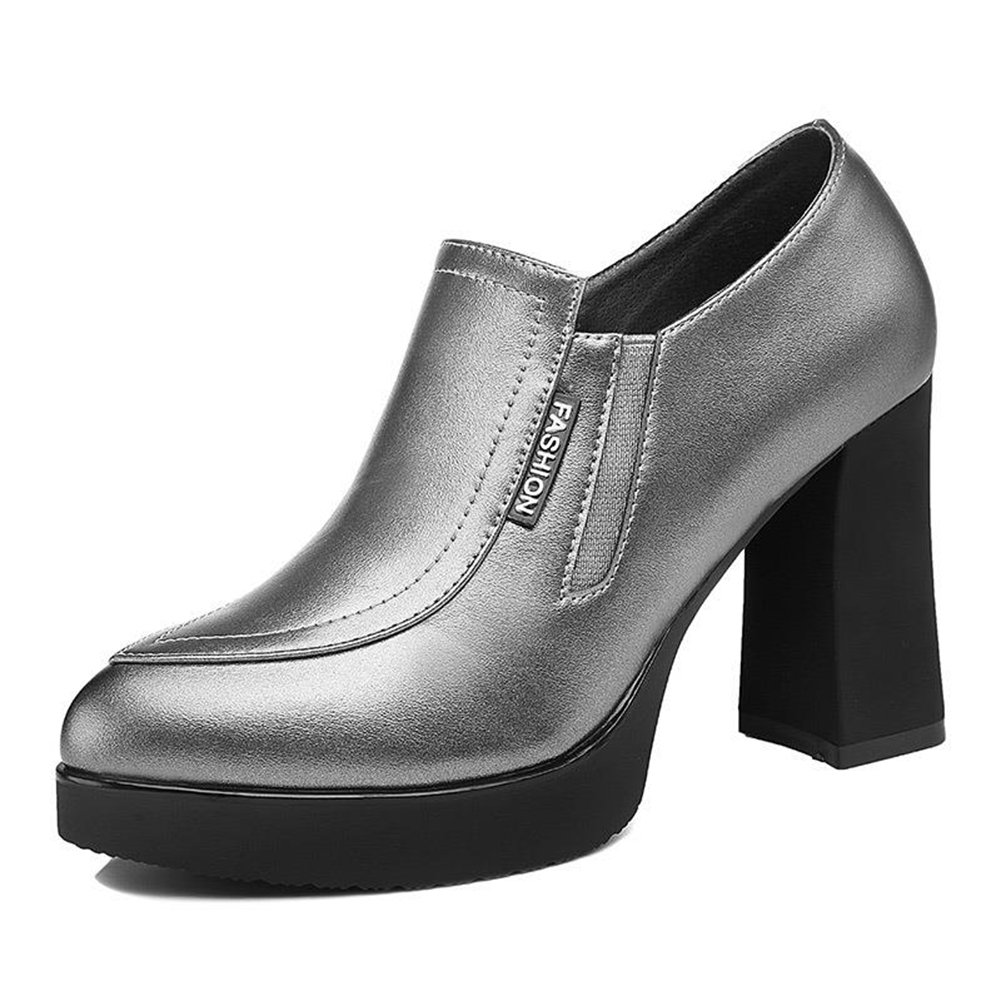 U-MAC Women's High Heel Platform Pumps Pointy Toe Slip on Chunky Bootie Comfortable Walking Shoes