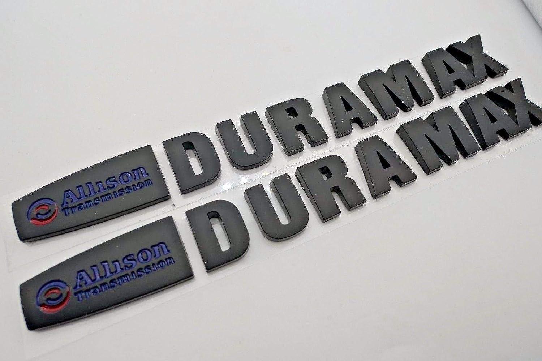 All Black Vestian 2 Pair Black Allison Transmission Duramax Fender Side Door EMBLEMS Badge Nameplate SILVERADO Sierra Denali 2500HD 3500HD