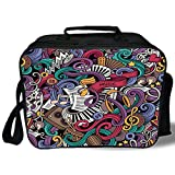 Doodle 3D Print Insulated Lunch Bag,Music Themed Hand Drawn Abstract Instruments Microphone Drums