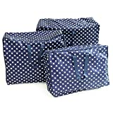 quilt fabric organizer - Buorsa 3 Pcs Oxford Fabric Large Clothing Storage Bags, Foldable Clothes Blanket Pillow Quilt Closet Sweater Organizer Storage Bags Zipped with Handle, L/XL/XXL