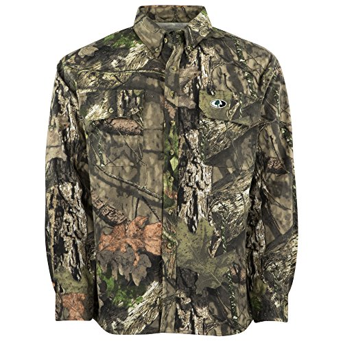 Big Save! Mossy Oak Men's Camouflage Chamois Hunting Shirt Available In Bottomland & Break-Up Countr...