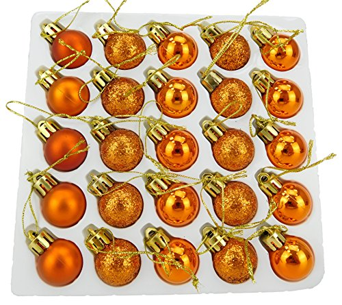 Christmas Concepts Pack of 25-25mm Mini Christmas Tree Baubles - Shiny, Matte & Glitter Decorated Baubles (Copper) (Christmas Balls Copper)