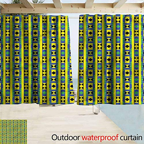 (MaryMunger Indoor/Outdoor Print Window Curtain Kente Pattern Geometric Kenya Outdoor Privacy Porch Curtains W55x63L Inches )