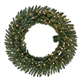 36 in. Pre-Lit B/O LED New Meadow Artificial Christmas Wreath x 341 Tips with 80 Warm White Lights and Timer (Pack of 2)