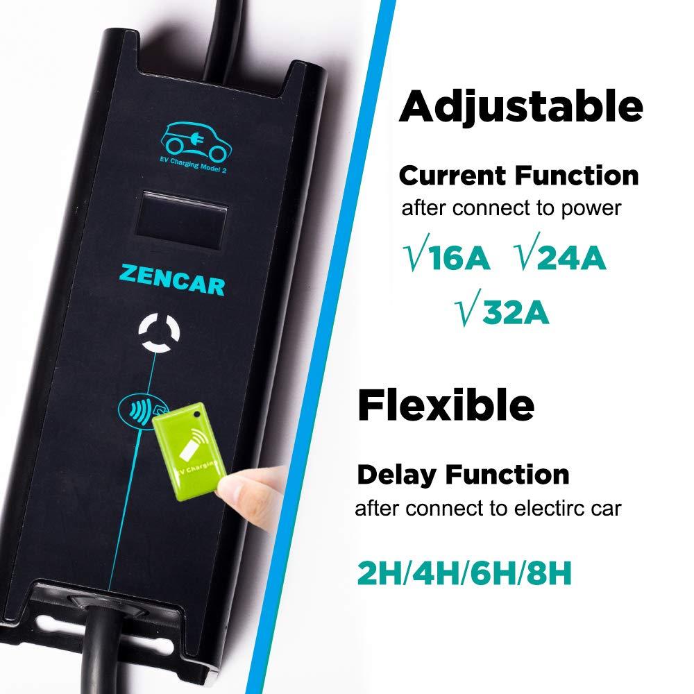 240V,25ft Zencar Level 2 EV Charger with Adjustable Current 16A/&24A/&32A,NEMA 14-50 Portable EVSE Electric Vehicle Home Charging Station