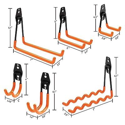Heavy Duty Wall Mounted Brackets Storage Hooks Garage Shed Ladder White 2pc J