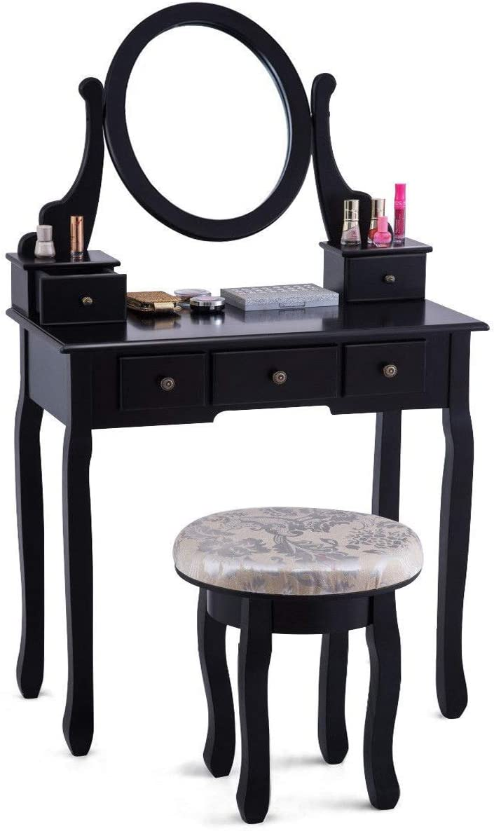 WATERJOY Vanity Set, Mirrored Makeup Vanity Table Set with Round 360 Degree Rotation Swivel Mirror Cushioned Stool Home Furniture White with 5 Drawers
